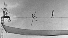 East Germany 1960's: tightrope walkers show Stock Footage