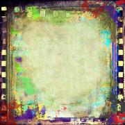 Grunge film strip colorful background - stock illustration