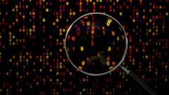 Data under magnifying glass binary spying spyglass Stock Footage