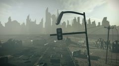 Apocalyptic city with highway - stock footage