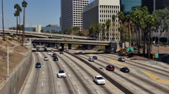 Overhead View of Traffic on Busy 10 Freeway in Downtown Los Angeles California - stock footage