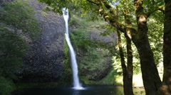 Lush forest waterfall Oregon Stock Footage