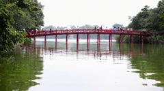Red Bridge to Jade Island Hoan Kiem Lake Hanoi Vietnam 8186 Stock Footage