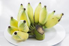 isolated of cultivated banana on white plate - stock photo