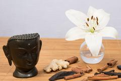 zen atmosphere, with a buddha - stock photo