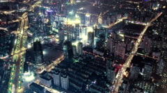 Aerial view of Shanghai city traffic at night. time lapse Stock Footage