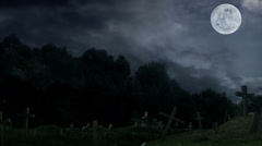 Old cemetery at midnight during rain. Stock Footage
