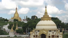 Sagaing, Pagodas on Sagaing Hill Stock Footage