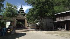 Sagaing, entrance of Soon U Ponya Shin Pagoda Stock Footage