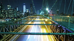 Time lapse of city traffic on Brooklyn bridge at evening - stock footage