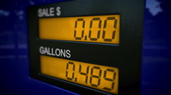 Free gas concept. Gas pump display showing no costs - stock footage