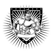 Bodybuilding shield Stock Illustration