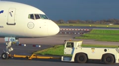 Jet towed with cabin crew Stock Footage