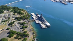 USS Missouri and USS Arizona, WWII Memorial, Pearl Harbor, Oahu, Hawaii - stock footage