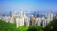 Skyline of Hong Kong city from victoria peak. time lapse Stock Footage