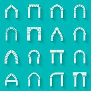 Flat silhouette icons collection of arch - stock illustration