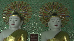 Sagaing, inside the U Min Thonze Cave, Buddha statues Stock Footage