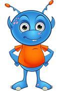 light blue alien character - stock illustration