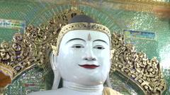 Sagaing, Swan Oo Pon Nya Shin Pagoda, buddha face Stock Footage