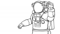 Astronaut - Space Drawing animation (HD) Stock Footage