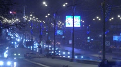 Snowy Night Traffic in City Stock Footage
