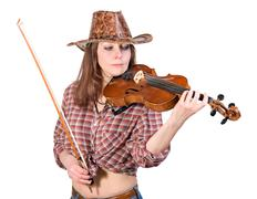 Country girl plays the viola Stock Photos