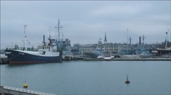 Harbor of old ships Stock Footage