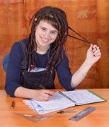 happy student with workbook - stock photo