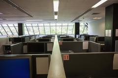 Empty office with separate units - stock photo