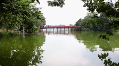 Red Bridge to Jade Island Hoan Kiem Lake Hanoi Vietnam 8187 Stock Footage