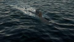 Submarine travelling on the surface of the ocean Stock Footage