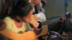 Playing Music on Micronesian Island of Yap Stock Footage