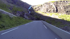 Trollstigen, Noway, speedy ascent by car Stock Footage