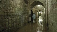 Damp tunnel (main corridor) inside Fort Vaux, near Verdun, Meuse, France. Stock Footage