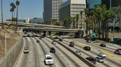 Time Lapse  - Overhead View of Traffic on Busy Freeway Downtown Los Angeles Stock Footage