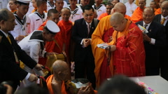 Stock Video Footage of Monk respect event