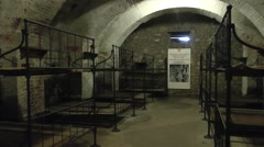 Barracks inside Fort Vaux, near Verdun, Meuse, France. Stock Footage