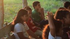 Children in the Sun on Micronesian Island of Yap Stock Footage