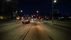 Driving Plates Beverly Hills Night CAM1 Front 02 La Cienega N at San Vicente Stock Footage