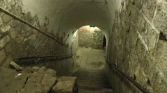 Stairs inside Fort Vaux, near Verdun, Meuse, France. Stock Footage