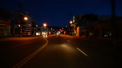 Driving Plates Beverly Hills Night CAM1 Front 04 La Cienega Blvd N at Melrose Stock Footage