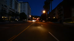Driving Plates Beverly Hills Night CAM1 Front 05 La Cienega Blvd N at Sunset  Stock Footage
