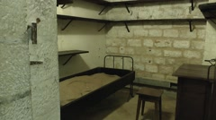 Fort Commanders bedroom inside Fort Vaux, near Verdun, Meuse, France. Stock Footage