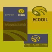 Vector logo, business card and cover for the production and sale of organic oils - stock illustration