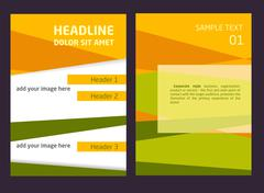 Brochure Flyer design vector template in A4 size. Orange and green abstract - stock illustration