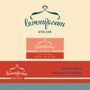 Vector logo, business card and banner for atelier. - stock illustration