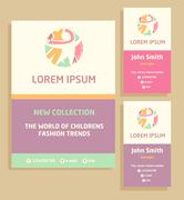 Vector logo, flyer and business card for a children's clothing store. Template Stock Illustration