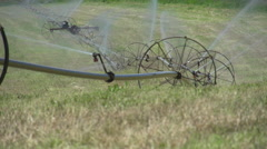 Agriculture, irrigation farm field wheel row, MS Stock Footage