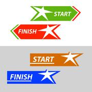 Start and finish, vector sticker, button An image with a star similar to the Stock Illustration