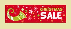 Banner for Christmas sale image with a cornucopia. New advertising discounts Stock Illustration